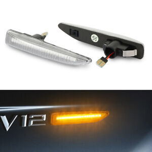 02-08 For BMW E66 E65 E67 7-Series Clear LED Side Marker Turn Signal Light Pair