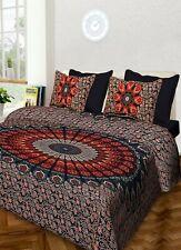 Indian Peacock Mandala Bedding Set King Size Bed Sheet Bedspread Hippie Cotton