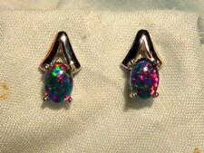 Opal Earrings 14ct White Gold . Triplet Opals 7x5 mm Oval. item 60942.