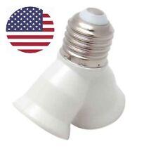 US DIY Screw E27 Base LED Light Lamp Bulb Socket 1 to 2 Split Splitter Adapter