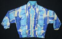 Vintage 80s 90s Ixspa Watercolor Blue Womens Full Zip Windbreaker Jacket L