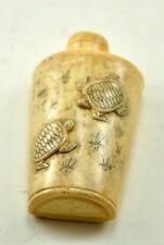 Vintage Chinese Bone Hand Carved Peking Snuff Bottle - Two Turtles
