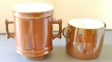 SUPERB ROYAL WORCESTER  FIREPROOF LUSTRE TEA STRAINER AND TWO HANDLED CUP