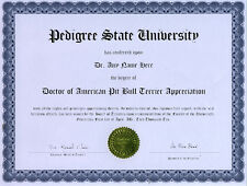 Doctor American Pit Bull Terrier Novelty Diploma Dog