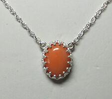 Nagelneu Sterling Silber Original Oval 10 mm x 8 rosa Koralle 45.7cm Halskette
