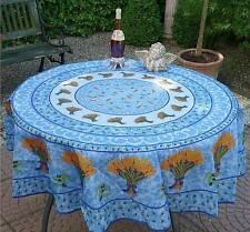 Tischdecke Provence 180 cm rund blau Ähren aus Frankreich, pflegeleicht