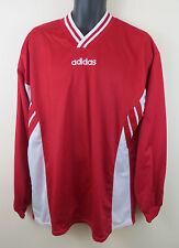 Vtg Adidas 90s Football Shirt Retro Soccer Jersey Red Longsleeve Trikot Mens XL