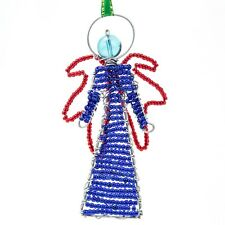 Blue African Handmade Maasai Bead Wire Christmas Angel Ornament