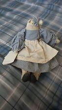 Vintage Hand Crafted Stuffed Muslin Cat 12 inches Tall Blue Dress Muslin Apron