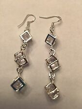 NEW STERLING SILVER PLATED  AND CLEAR GEMSTONE CUBED  EARRINGS--E372