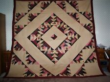 Nice Scrappy Modified Diamond Lill Pattern Lap/ Crib Quilt Top -(Approx 63 x 63)
