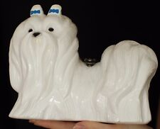 TIMMY WOODS MALTESE WHITE BLUE BOW HAND CARVED DOG PURSE CLUTCH PUPPY MINAUDIERE