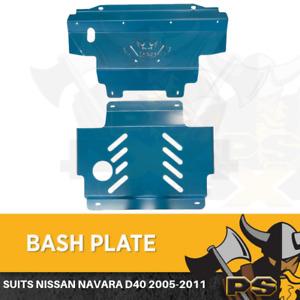 Nissan Navara D40 2005-2011 St St-X Rx Bash Plate, 2pce Sump Guard Set 4MM Blue
