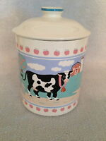Ceramic Cow Cookie Jar Canister White Black  Japan Apples Farm  country