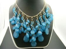 Stephan & Company BLUE Briolette Beads Beaded Waterfall Statement Necklace