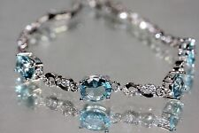 4 x Created Oval Aquamarine 18K White Gold GF Bracelet 6.88 - 8.07inches