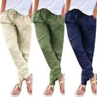 Ladies Womens Drawstring Elastic Waist Pants Summer Casual Long Trousers Bottoms