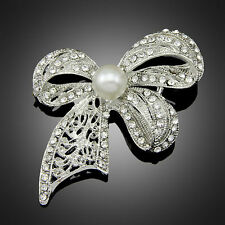 Korean Vintage Bow Wedding Flower Pearl Brooch Clothes Pins Women Accessories