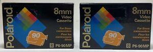 2-POLAROID 8mm Video Cassette Tape P6-90MP. Camcorder. 90 Mins. NEW Sealed