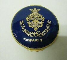 "New listing Ritz Hotel Paris Halcyon Days 2 1/4"" Vintage Casket Trinket Box Navy Blue Gold"