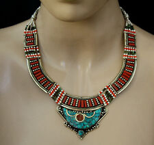 sterling silver necklace handmade tibetan ethnic  jewelry turquoise UDD12