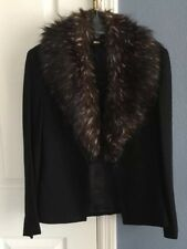MNG Mango Black Suit Jacket With Attached Fur Collar Size 4 USA