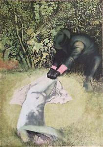 Piero Tredici litografia Trascinata in giardino 70x50 firmata numerata 1976