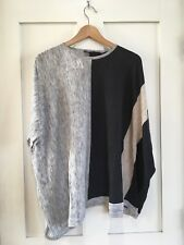 Cullen Color Block Striped Sweater Nuetral Gray Oversized Size Small NWT