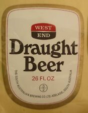 OLD AUSTRALIAN BEER LABEL, SA BREWING Co WEST END DRAUGHT 26 Oz