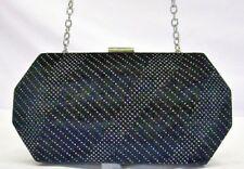 INC NWT $59 GEO MINAUDIERE Black Velvet Silver Sparkle Clutch Crossbody Bag