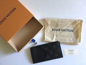 Rare Louis Vuitton Coin Card Holder M30271 Black Monogram Eclipse NEW