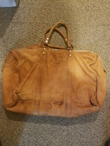 IL BISONTE Tan Brown Leather Double Handle  Duffle Travel Bag
