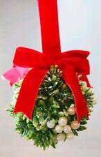 "Mistletoe Ball Decor Kiss White Green Wall Door Hanging Christmas 4"" Ornament"