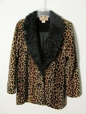 S6720 Painted Pony Women's Small Leopard Print Faux Fur V-Neck Jacket