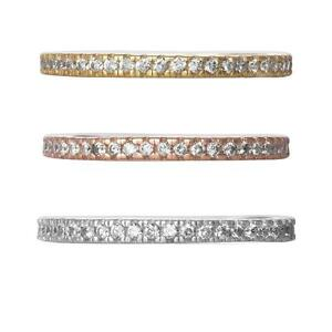 Cubic Zirconia Stackable Eternity Ring Rhodium Gold Rose Plated Size 6 7 8 9
