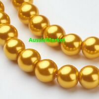 50 x loose glass beads gold yellow imitation pearl spacer 8mm jewelry jewellery