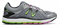 New Balance Women's 1260v7 Shoes Grey with Pink & Green