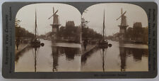 Keystone Stereoview of a Canal and Windmill in Holland 1913 # 5041 Near Mint