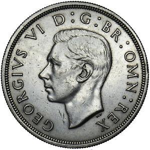 1937 CROWN - GEORGE VI BRITISH SILVER COIN - V NICE