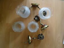 Vintage 1980's Glass, Brass, Wood Wall Lights One Double And Two Single Pieces.