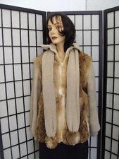 SCRAP JACKET: RABBIT FUR AND CLOTH JACKET COAT W/ SCARF ARTS AN CRAFTS