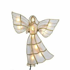 "Kurt Adler Capiz Angel with Dove Lighted 8.75"" x 8.5"" Brass Plated Tree Topper"