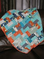 Handmade Teal Blue Orange Gray Baby Toddler Quilt Lap Blanket New Machine Quilt