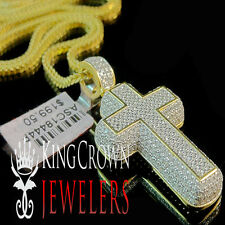 Mens Pave Charm 10K Yellow Gold On Silver Simu Diamond Cross 3D Pendant + Chain