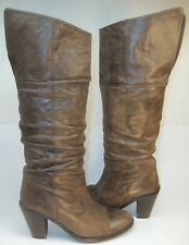 Mustang Womens Knee-High Boots EU 39 US 8 Brown Slouchy Leather Pull-On western
