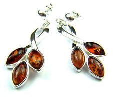 SilverAmber Jewellery Earings M018 925 Sterling Silver Cognac Amber Stones