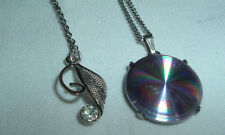 VINTAGE MEN'S 2 SILVER TONE RHINESTONE & IRIDESCENT DISK PENDANT NECKLACE CHAINS