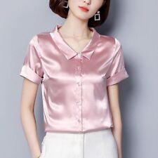 Women Faux Silk Satin Shirt Short Sleeve Button Down Formal Shiny Blouse Top