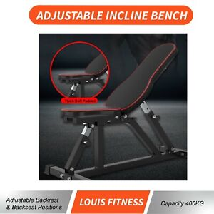 Gym Adjustable Incline Flat Weight Exercise Bench Sit Up Dumbbell Squat Press