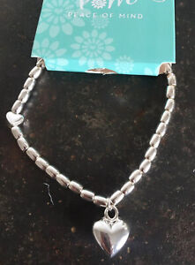 Silver Plated Puff Heart Bracelet With Heart Charm POM Boutique